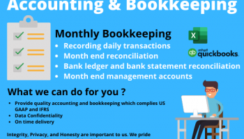 Monthly Bookkeeping and accounting